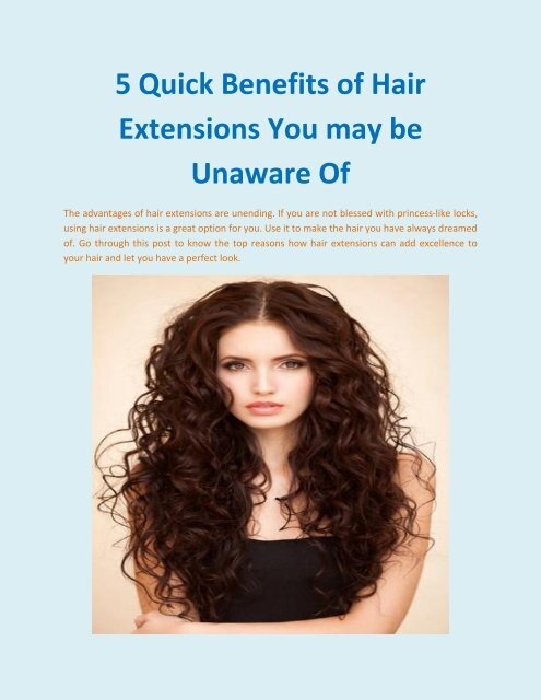 5 Quick Benefits of Hair Extensions You may be Unaware Of