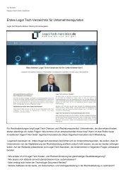Erstes Legal Tech-Verzeichnis fuer Unternehmensjuristen