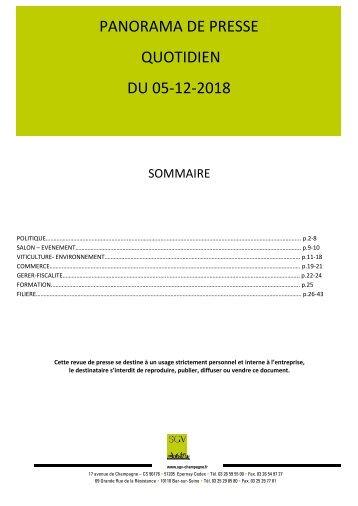Panorama de presse quotidien du 05-12-2018