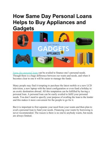 How Same Day Personal Loans Helps to Buy Appliances and Gadgets
