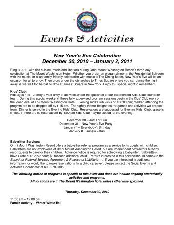 New Year's Eve Celebration December 30, 2010 ... - Bretton Woods
