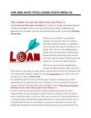 Get Auto Car Title Loans Costa Mesa CA   949-536-7963