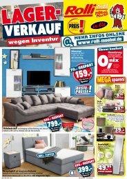 Lagerverkauf wegen Inventur, Weihnachts-Knaller bei Rolli SB Möbelmarkt, 65604 Elz