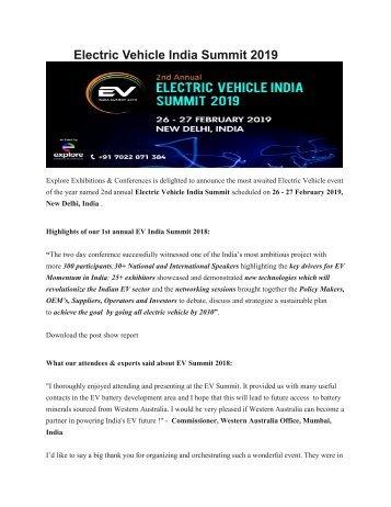 Electric Vehicle India Summit 2019