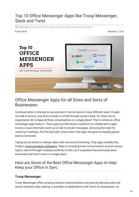 tvisha com-Top 10 Office Messenger Apps like Troop Messenger