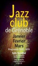 Programme Jazz Club Grenoble Janvier Février Mars 2019