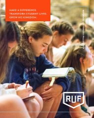 Reformed University Fellowship: 2018 Annual Report