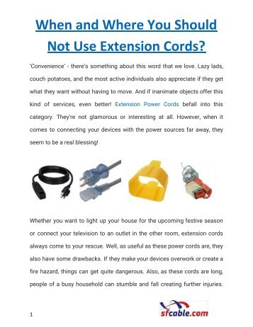 When and Where You Should Not Use Extension Cords