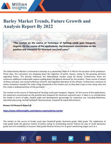 Barley Market Trends, Future Growth and Analysis Report By 2022