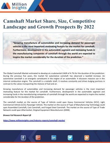 Camshaft Market Share, Size, Competitive Landscape and Growth Prospects By 2022