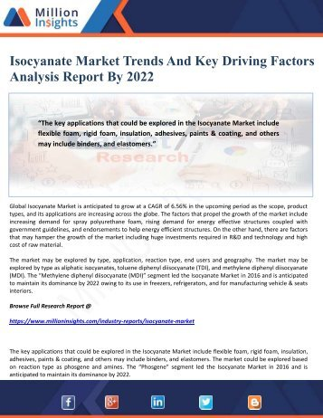 Isocyanate Market Trends And Key Driving Factors Analysis Report By 2022