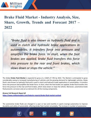 Brake Fluid Market Key Players, Industry Overview, Supply and Consumption Demand Analysis to 2022