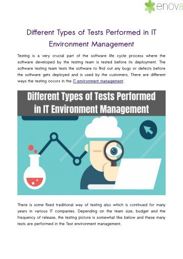 Different Types of Tests Performed in IT Environment Management