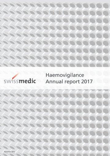 Swissmedic Haemovigilance – Annual report 2017