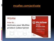 mcafee.com/activate -  Activate your mcafee antivirus