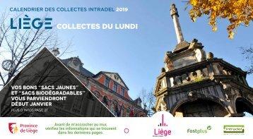 Calendrier Intradel 2019 des collectes de déchets du lundi