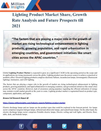 Lighting Product Market Share, Growth Rate Analysis and Future Prospects till 2021
