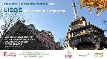 Calendrier Intradel 2019 des collectes de déchets du vendredi