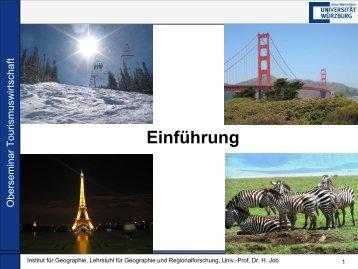 Primäres touristisches Angebot - Geographie