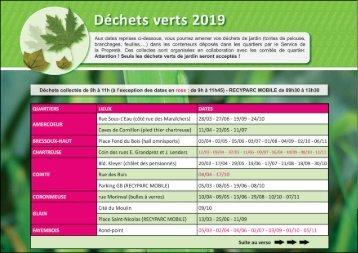Calendrier des jours de collectes de déchets verts 2019