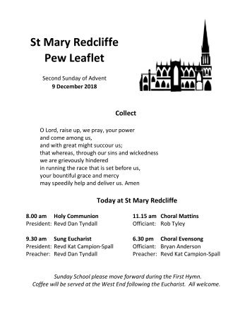 St Mary Redcliffe Church Pew Leaflet - December 9 2018