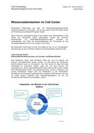 Wissensdatenbanken im Call Center - Community of Knowledge