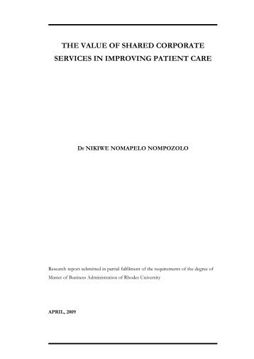 the value of shared corporate services in improving patient care
