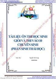 Tài liêu ôn thi HSG thi vào lớp 10 chuyên Sinh phần sinh thái học - Nguyễn Viết Trung - TRƯỜNG THPT THẠCH BÀN HÀ NỘI
