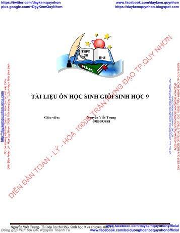 Tài liệu ôn thi HSG  Sinh học 9 và chuyên sinh 10 - Phân bào - Nguyễn Viết Trung - TRƯỜNG THPT THẠCH BÀN HÀ NỘI