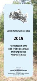 KGV Calw e.V. – Veranstaltungskalender für Heimatgeschichte und Traditionspflege 2019