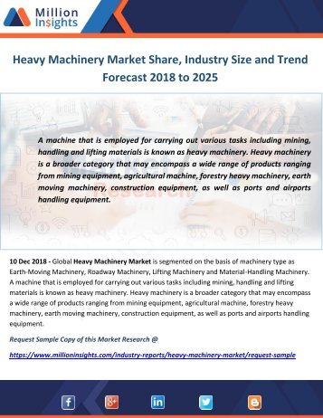 Heavy Machinery Market Share, Industry Size and Trend Forecast 2018 to 2025