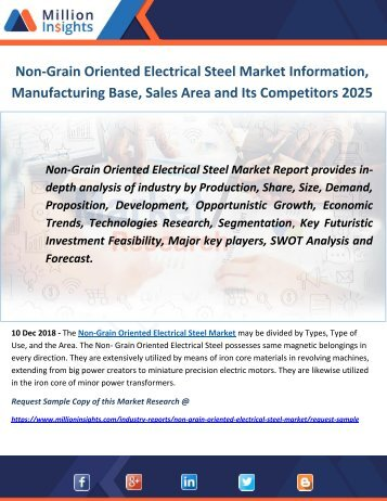 Non-Grain Oriented Electrical Steel Market Information, Manufacturing Base, Sales Area and Its Competitors 2025