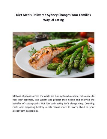 Diet Meals Delivered Sydney Changes Your Families Way Of Eating
