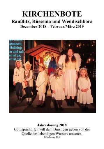 Kirchenbote Dezember 2018, Februar 2019