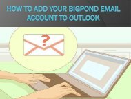 How to Add Your Bigpond Email Account to Outlook