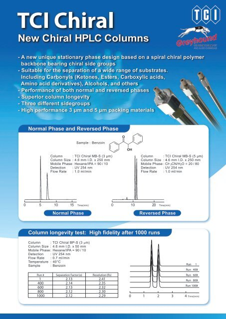 Tokyo Chemical Industries (TCI) Chiral Columns