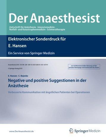 Negative und positive Suggestionen in  der Anästhesie Verbesserte ...