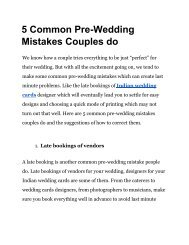 5 common Pre-Wedding mistakes couples do