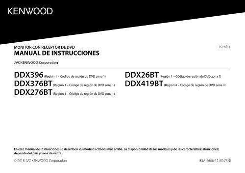 Kenwood DDX26BT - Car Electronics Spanish Instruction Manual