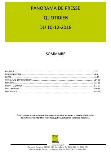 Panorama de presse quotidien du 10-12-2018