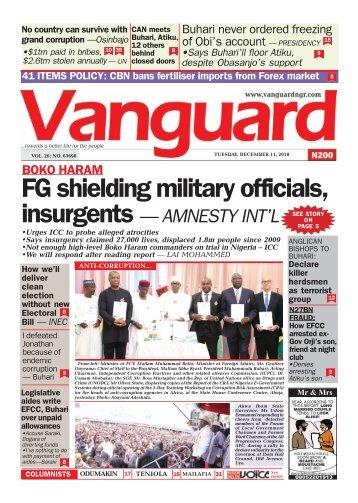 11122018 - FG shielding military officials, insurgents — AMNESTY INT'L