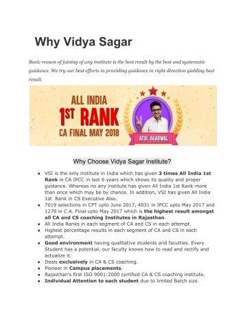 Why Vidya Sagar