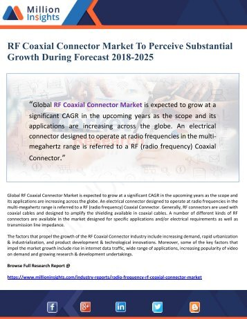 RF Coaxial Connector Market To Perceive Substantial Growth During Forecast 2018-2025