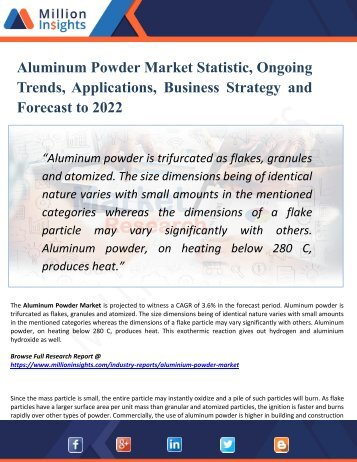 Aluminum Powder Market Growth Drivers, Vendors Landscape, Shares, Trends, Industry Challenges with Forecast to 2022