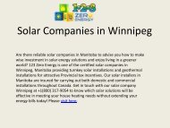Best Solar Companies in Winnipeg