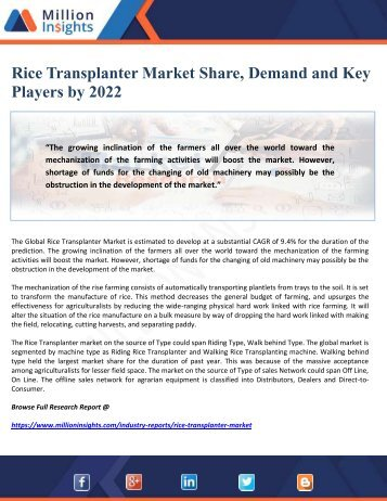 Rice Transplanter Market Share, Demand and Key Players by 2022