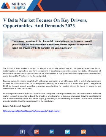 V Belts Market Focuses On Key Drivers, Opportunities, And Demands 2023