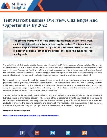 Tent Market Business Overview, Challenges And Opportunities By 2022
