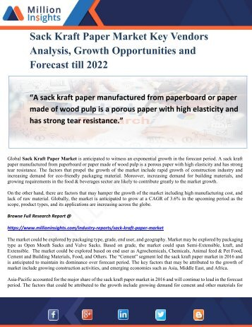 Sack Kraft Paper Market Key Vendors Analysis, Growth Opportunities and Forecast till 2022