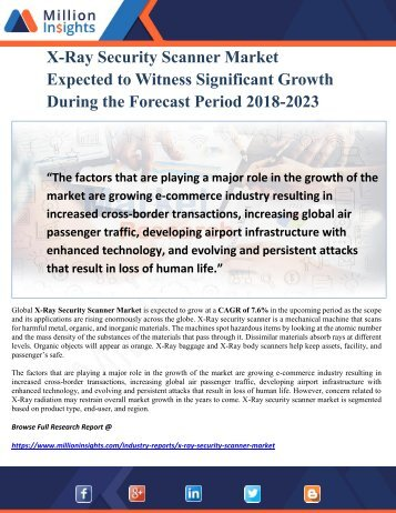 X-Ray Security Scanner Market Expected to Witness Significant Growth During the Forecast Period 2018-2023